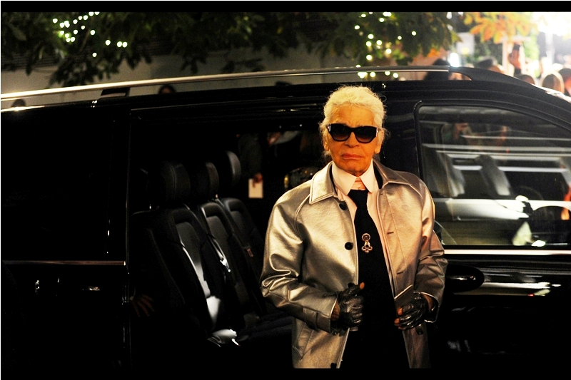 """Karl Lagerfeld regards me with a look approximating to """"and have you ever attracted a female of the same species with what you're wearing?"""" and a """"thought not"""" that didn't wait for my answer at  The 2015 British Fashion Awards."""