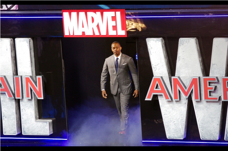 Anthony Mackie is our next arrival, and nobody thus far has been better-dressed (with the possible exception of Elizabeth Olsen, although she would have worn Mackie's sharp suit just as well, I'd opine)
