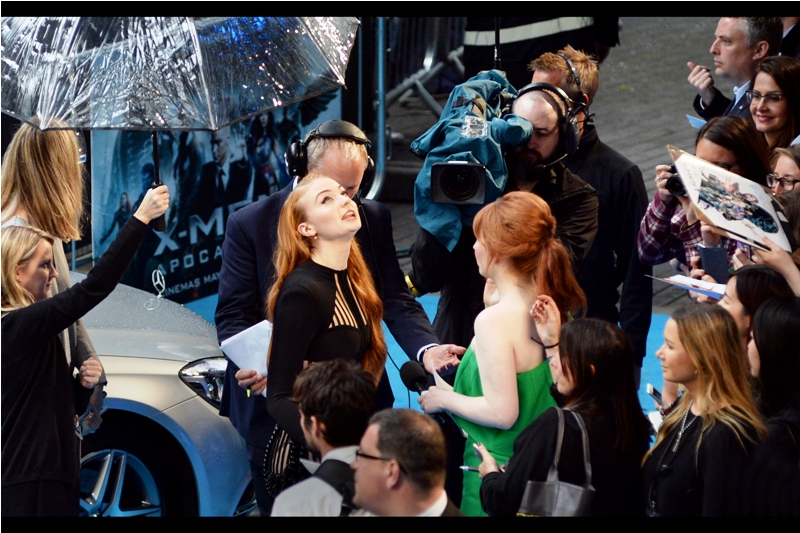 """Yup. Rain alright"".  A mere one day after I mistakenly claimed I photographed Game of Thrones' Sophie Turner at the TV Baftas (I'd actually photographed Eleanor Tomlinson)... I can now more confidently say that THIS is Sophie Turner."