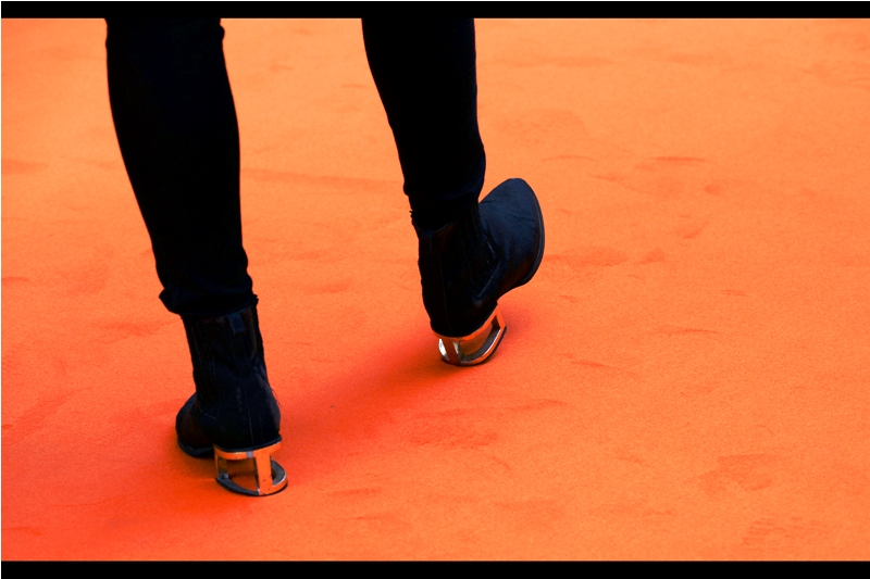 There's a deep and meaningful explanation for the boot heel design, but I'm still mesmerised by the orange carpet so I can't give it all the consideration it deserves right now.