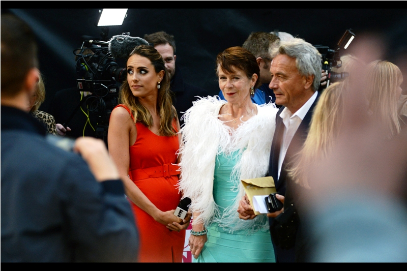 I've photographed actress Celia Imrie at such premieres as  The Best  and  The Second Best  Exotic Marigold Hotel, but back in those days she wasn't wearing shredded paper shawls to premieres, I don't think.