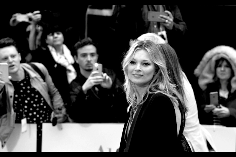 I dont care if the guy with the polka dot shirt, the dude with the mobile phone flash or the woman with the double alpaca fleece hoodie in the background are all disractions : this is about as glamorous a shot of Kate Moss that 10 frames per second on the Nikon could provide.