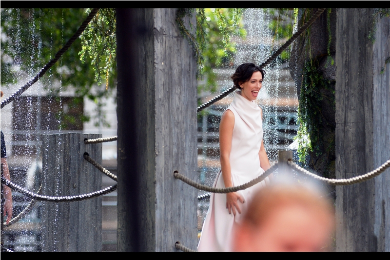"One day I will be in a position to take photos of people without giant blurry heads bocking my view. But until that day happens, I'm going to (a) pretend they're not there, (b) pretend it's ""Art"" or ""Authentic"" or something. Also : this is actress Rebecca Hall : she's in this film."