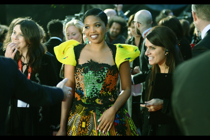 """What do you mean 'shoulder pads aren't back yet'? I just brought them back. RIGHT HERE and RIGHT NOW. ON MY OWN""  - Terry Pheto is in this film, and among other films was also in  'Mandela Long Walk to Freedom'  although sadly I beilve she missed the premiere."