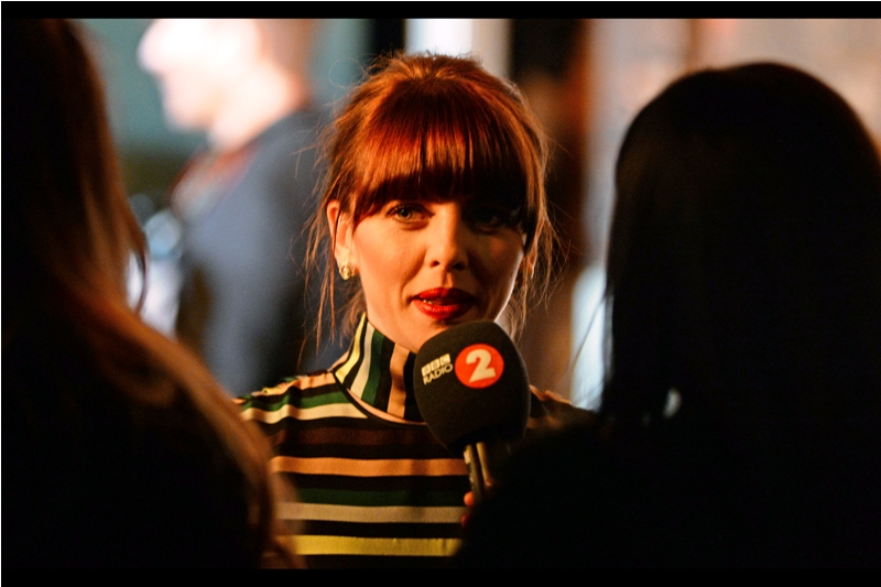 Ophelia Lovibond (I think) - also, both horizontal AND vertical stripes in an outfit cause to remindme that the British Fashion Awards are on in about a fortnight...