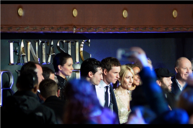 With Katherine Waterston's interview finished, the last cast member left the stage and a short time later we could see the cast assembled in the distance to pose as a group. This is the best I could do shooting high-and-blind. And that's how it ended.....(or did it)