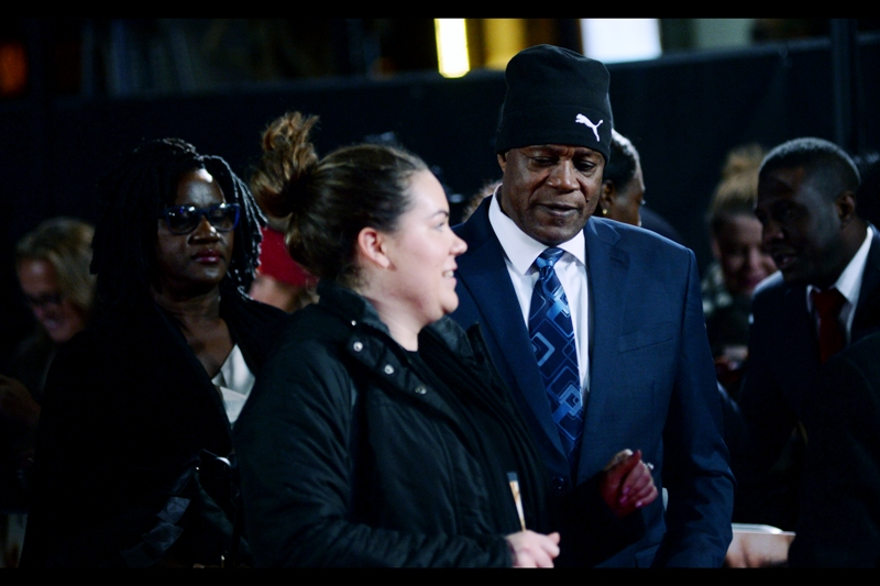"""There are four days every year where London's temperature in any way resembles Jamaica's. And none of them occur between October and March""  Usain Bolt's mum and dad - Wellesley and Jennifer Bolt attended the premiere."