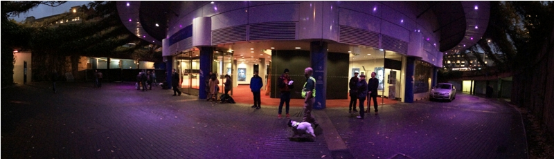 After some level of deduction as to where the ' location to be confirmed ' 'fan event' would be, I end up at BFI Imax, currently featuring some exclusion barriers to the left, plus about a dozen people not sure what they were doing there, and an explosives sniffer dog. Looks like my hunch was right.