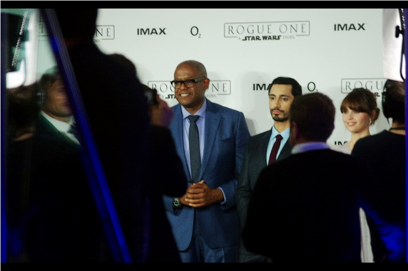 Forrest Whittaker, centre, is in this movie and I've never photographed him before, while to the right there's Riz Ahmed ( he was in 'ill Manors' ) and a smudge further to the right that might or might not be Felicity Jones.
