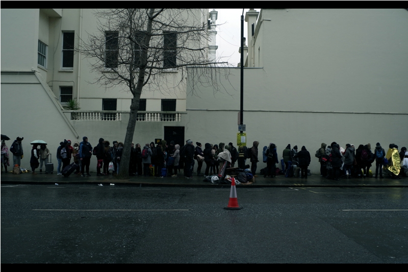 """What do you mean this isn't the queue for the bus? I've been here three hours!""  Saturday, 11th February. The morning prior to the night subsequent and I'd made it to The Queue (now in its second street) around 7am, ultimately garnering a wristband with number 247 on it."