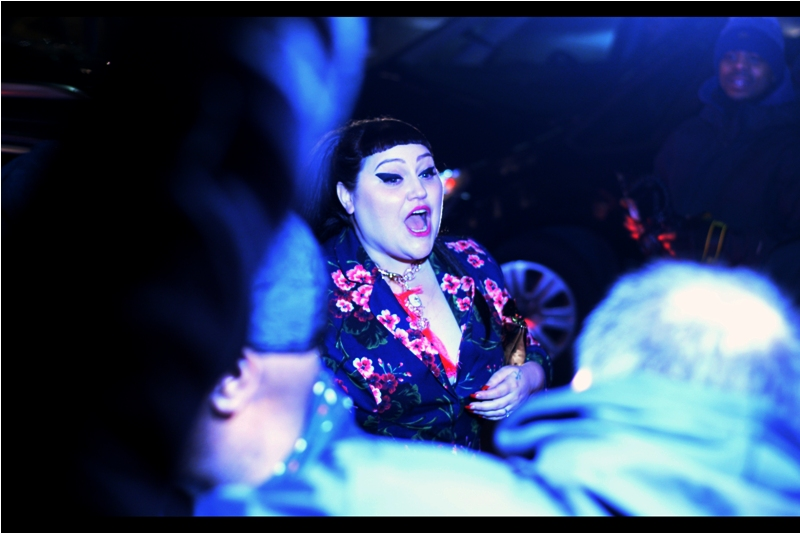 """""""This is style, people! Check my invite to the event. It's proof!""""  Excitingly, we've now hit the third (fourth?) person at this event that I recognise : Beth Ditto is (was?) the lead singer of the band Gossip."""