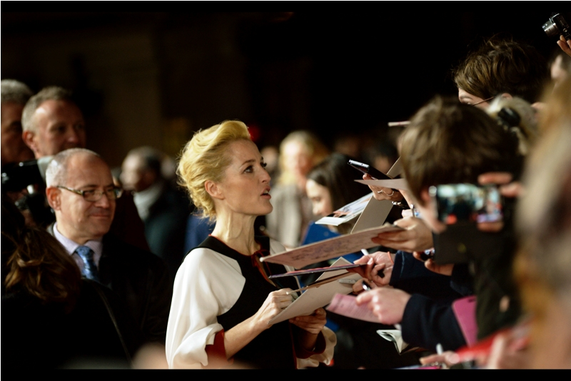 """""""You with the camera up top. Either your lens cap is on or your autofocus isn't working""""  - Gillian Anderson was the main drawcard for dealers at this event - she was in  The X-Files  and (for example)  Johnny English Reborn , both of whose premieres she attended."""