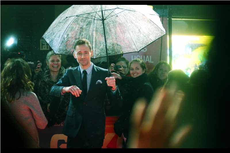 Tom Hiddleston responds to the plaintive pleas of the (female) fans in the pen I'm in. And also ghostly green hands.