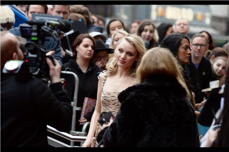 """Tilt it a little more, if you could. A little more....  A little more... oh, wait. Or I could tilt this camera""  - I have photographed actress Emily Berrington once before, at  the premiere of ""Inbetweeners 2"""