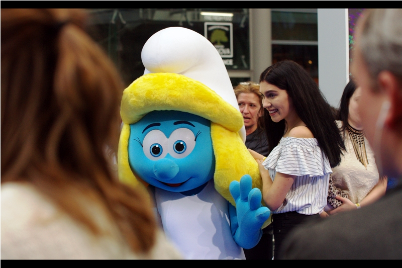 """Smurfette (aka : """" Schlumpfine"""" in the German variant of the Smurfs) will not be signing autographs today, owing to what appears to be a tragic lack of opposable thumbs."""