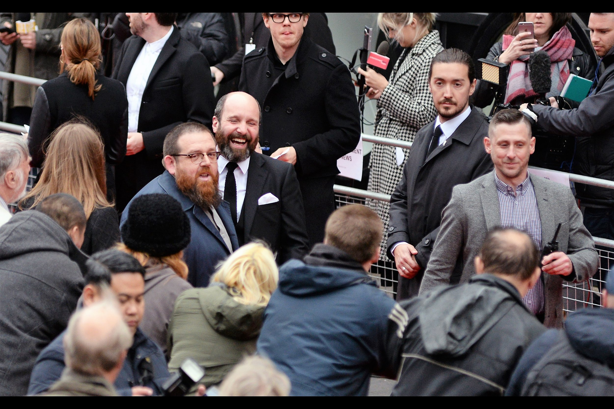 Random (?) attendee : actor Nick Frost. Also, random presence on random attendee : a red beard on actor Nick Frost.