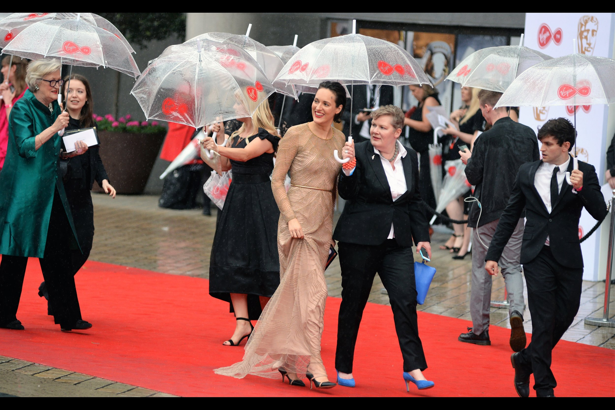 """If I hadn't lost that bet it would have been ME wearing those awesome blue shoes.."" . Edited to add : possibly by way of compensation, Phoebe Waller-Bridge won the Bafta for best female performance in a comedy program"