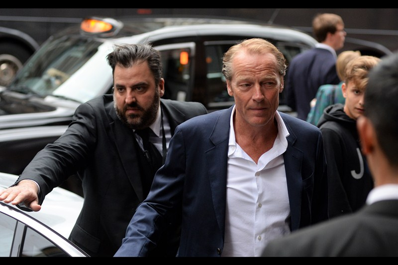 """I never did find out whether that kid got the photo of Holliday Grainger, or her particularly alluring hair-swish, but our next arrival is Iain Glen, best known as """"Ser Friend Zone"""" from Game of Thrones."""