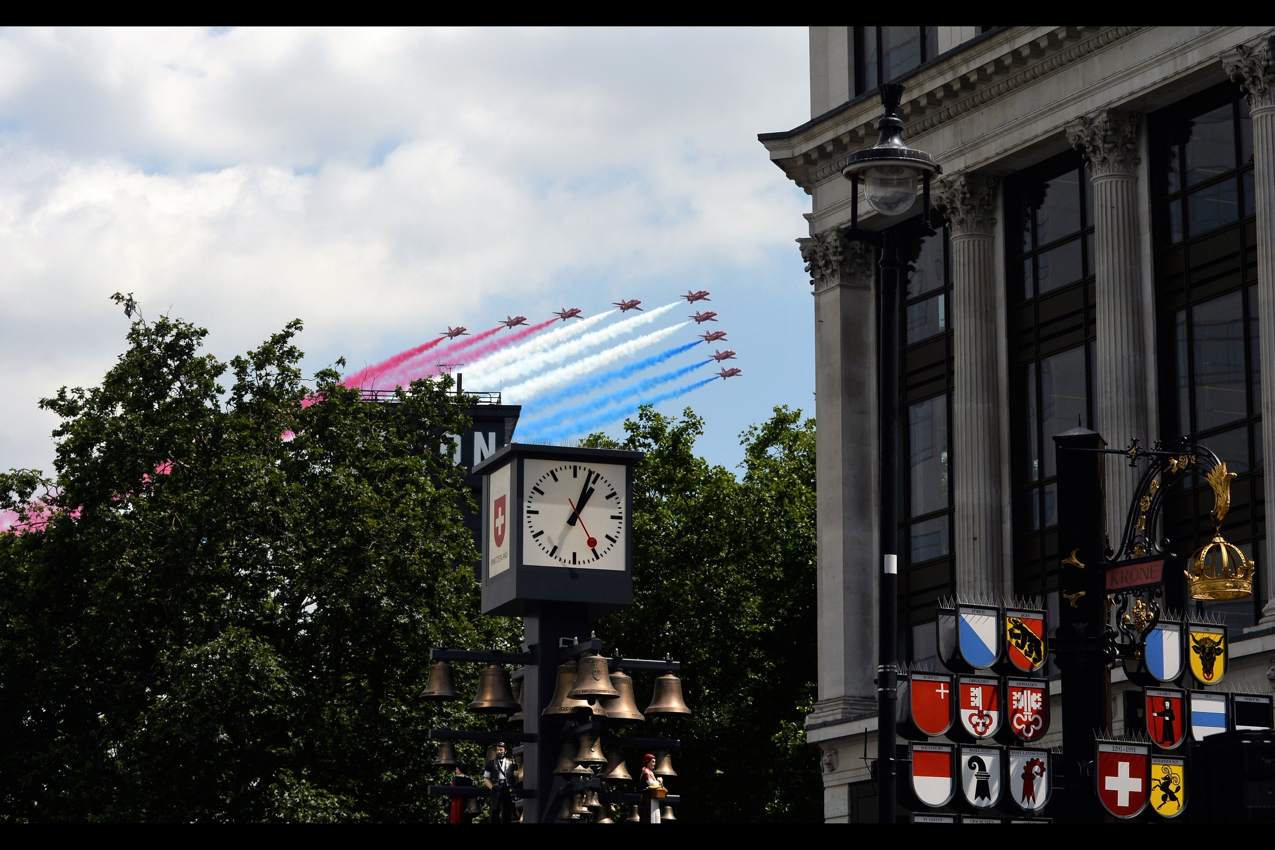 I'd walked from Green Park to Leicester Square quickly enough to catch the Red Arrows flyby. And get a replacement wristband for tomorrow. Priorities, people!