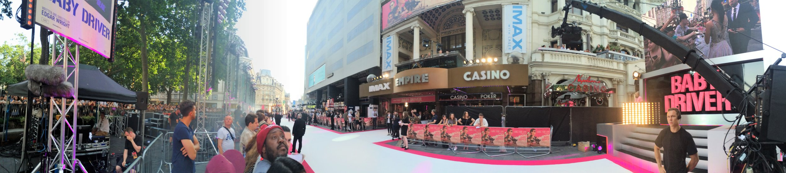 A white and pink carpet, a position in almost full sun, and event organisers providing free bottled water to avoid the embarrassment (as against the publicity) of people fainting at the sight of Ansel Elgort. Good times!