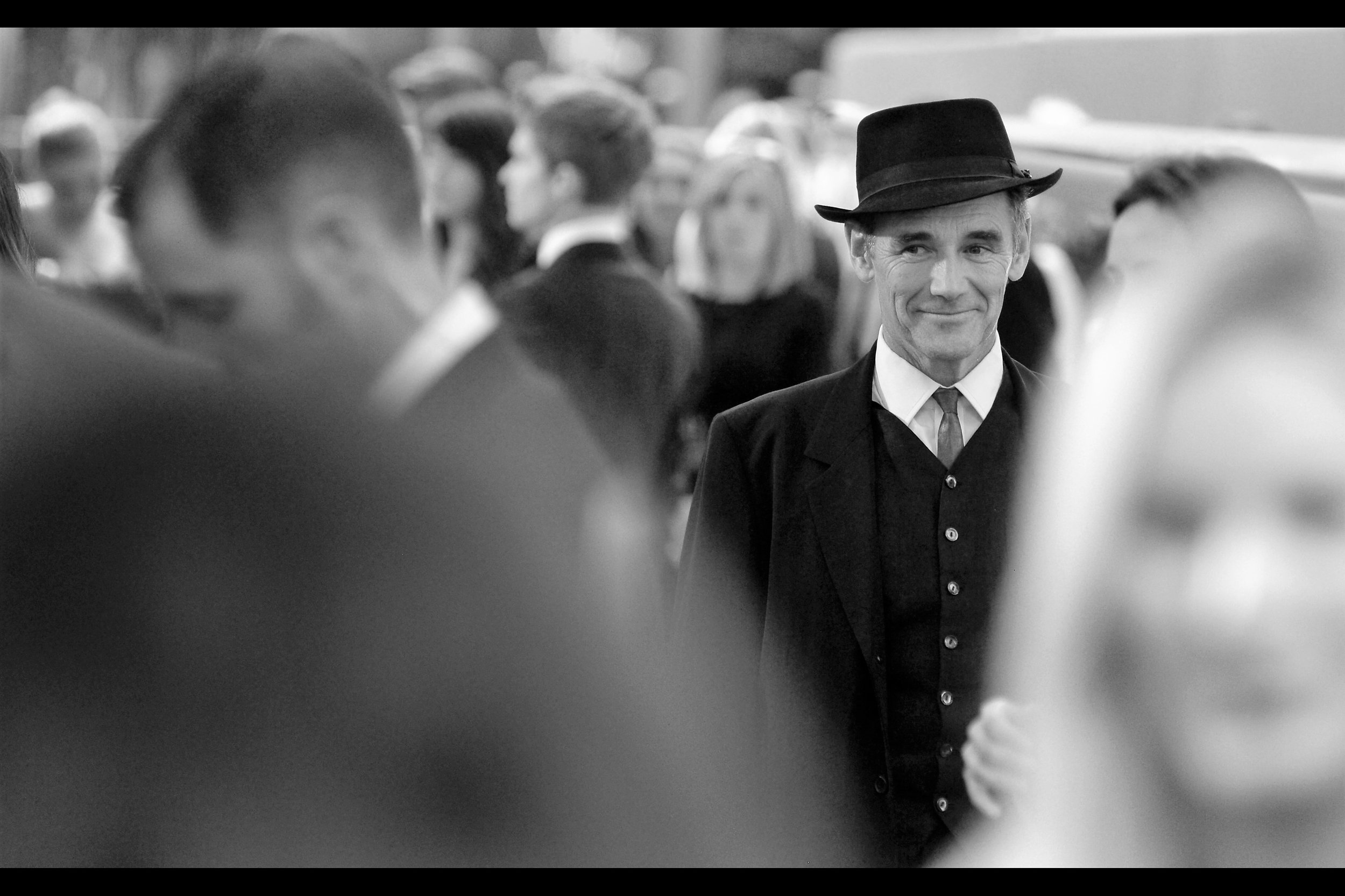 """You can't have the hat, you can't have the tie... and frankly I'm a little miffed that you're looking at these buttons without my permission""  - Mark Rylance won a Best Supporting actor Oscar for Bridge of Spies, and was most recently in Spielberg's ""The BFG"""