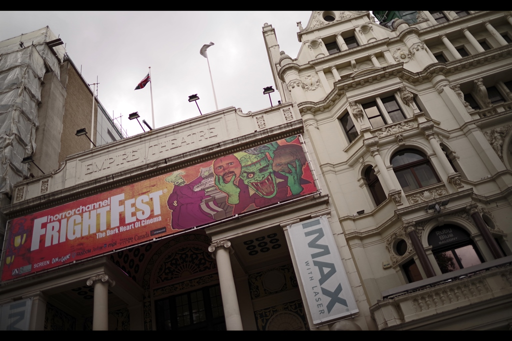 """Don't let the nearby street preachers, kids chasing bubbles, and rowdy street performers fool you, there's a Film Festival on in Leicester Square today (you can tell because the nearby Prince Charles cinema, which is also screening horror movies over the next few days, has kept its giant """"see 2001 A Space Odyssey in 70mm"""" marquee)"""