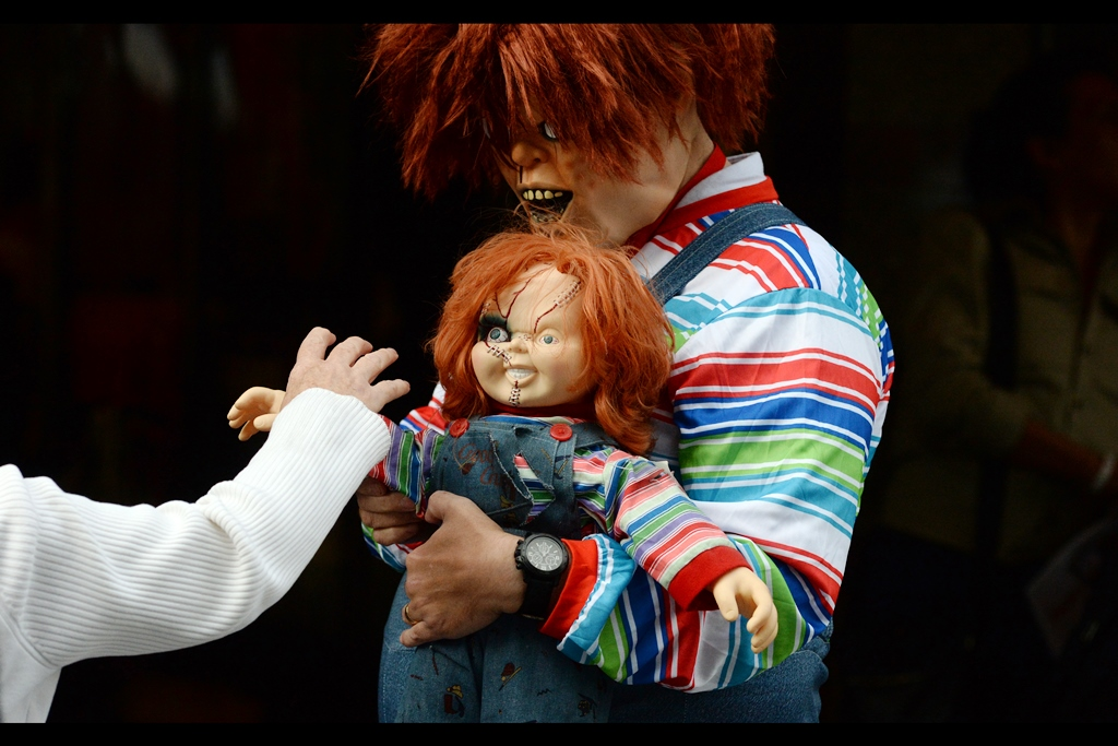"""""""Of course it won't bite if you touch it, silly - it's just a doll! But I'll bite you if you touch it, certainly"""""""
