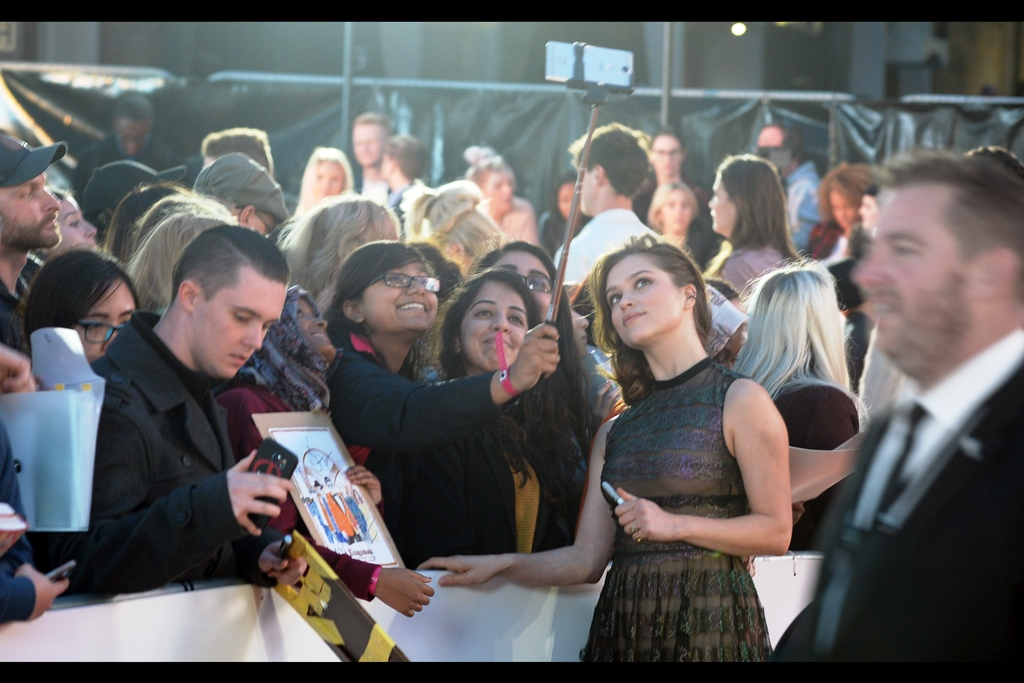 """""""Colin Firth is pretty hot, and this selfie stick is pretty useful, huh?""""  - Sophie Cookson (at right) is coincidentally also in this film."""