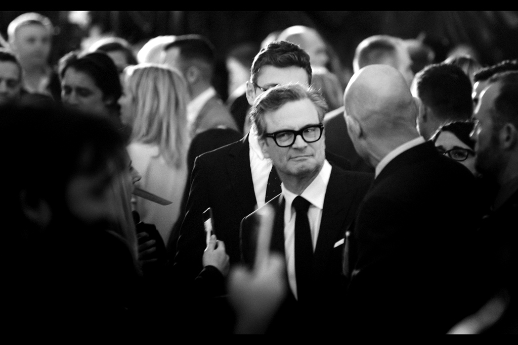 Meanwhile the fervent screams for the arrived-earlier Colin Firth are loud and insistent enough that they might even give lead actor Taron Egerton (elsewhere in the giant crowd) pause.