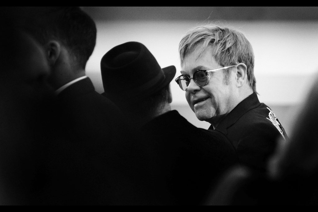 """Other than a blurry misshapen blob at  the premiere of """"Australia""""  almost a decade ago (my fault, not his) I have never previously photographed Sir Elton John. Sadly, as he declined to be interviewed on stage in preference to being driven aroundin a miniature electric open-top-humvee-taxi, I still haven't photographed the right side of the face of Elton John"""
