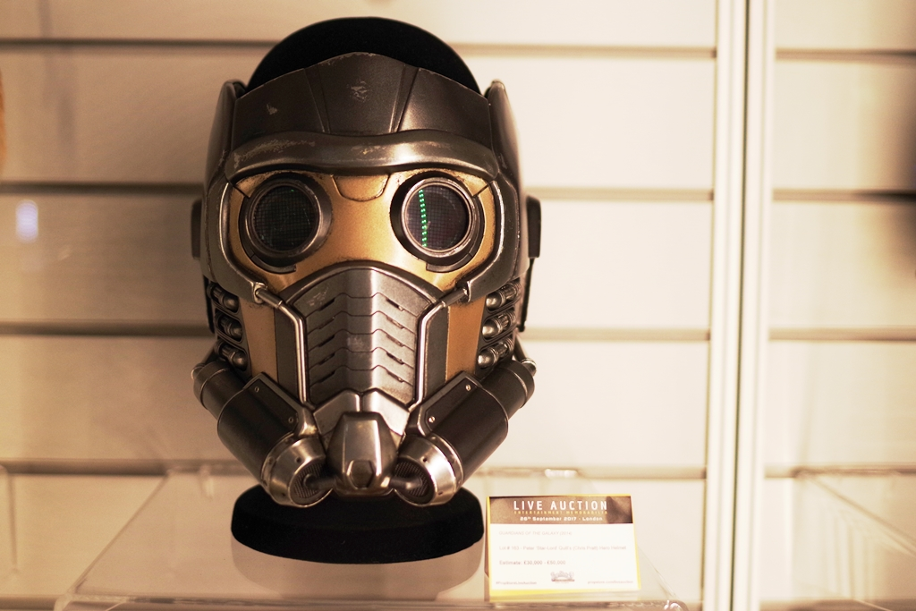 """Starlord's Helmet/Mask from Guardians of the Galaxy. Which is a very cool prop I'm surprised / disappointed they didn't display a bit more elegantly because it looks amazing.   (Winning bid for Michael Jackson's """"Face"""" : £14,000)"""