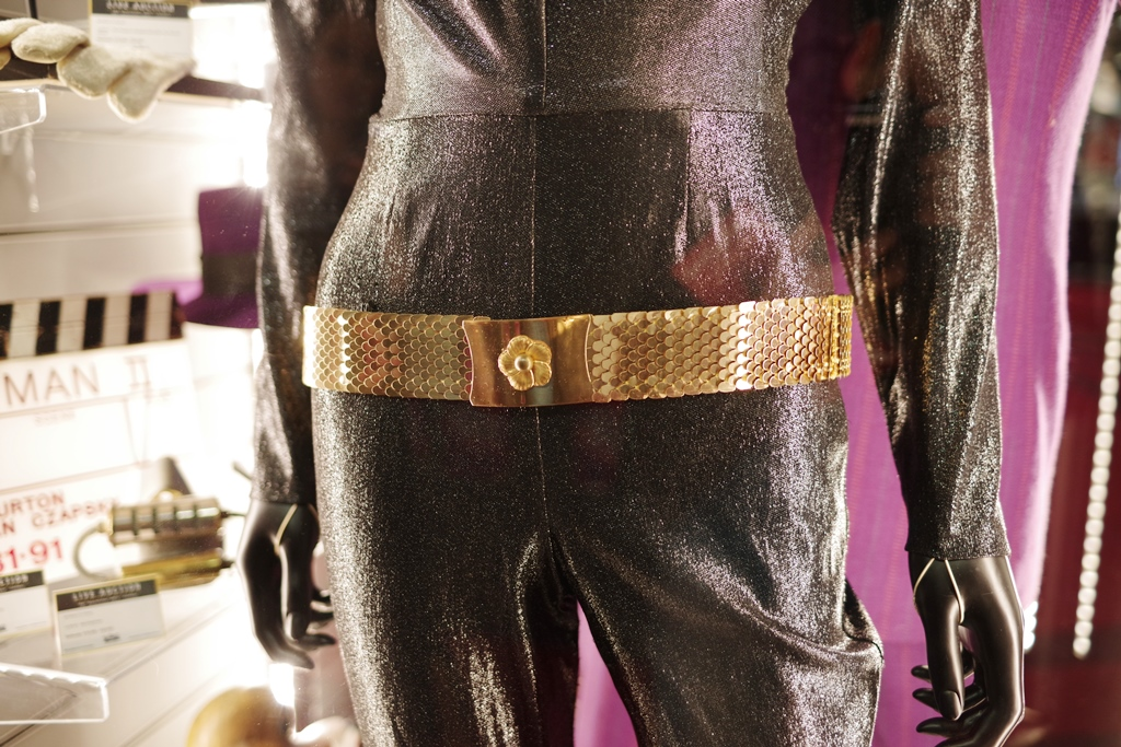 Belt detail from Julie Newmar's Catwoman costume from the 1960s Batman TV show.   (The Back to the Future part III costume didn't meet its reserve price)