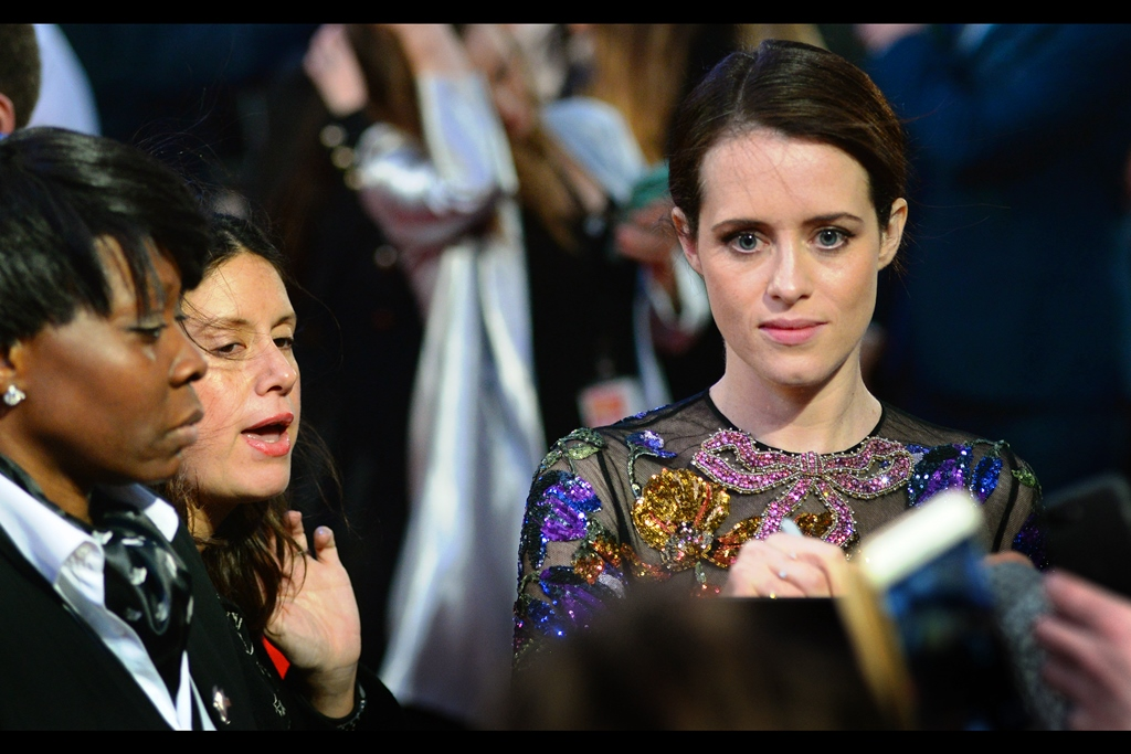 """If you could draw a crown above your signature it'd be really cool. Because, you know....""  - actually, according to the usually reliable imdb.com, Claire Foy is best known for being 'The Girl' in the Nicolas Cage movie 'season of the witch' and NOT for playing the lead role of Queen Elizabeth II in 'The Crown' for which she won a Golden Globe."