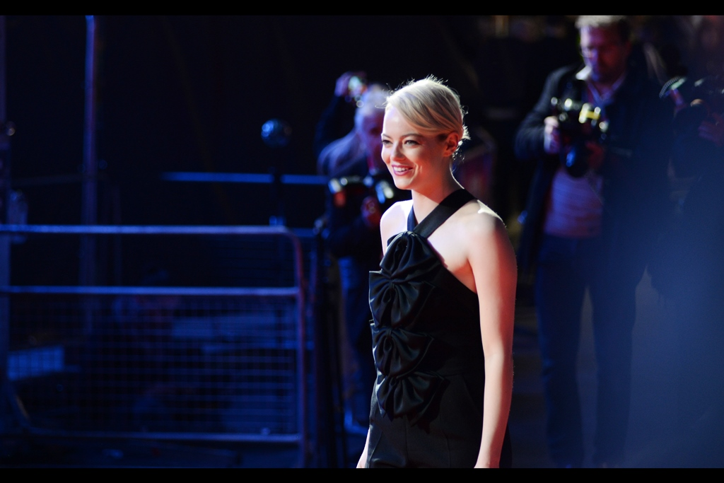 """I don't want to overshadow proceedings, but I was hardly going to show up in tracksuit pants and a double-hoodie""  Random attendee : Emma Stone, who I photographed just last weekend at    the BFI LFF premiere for 'Battle of the Sexes'."