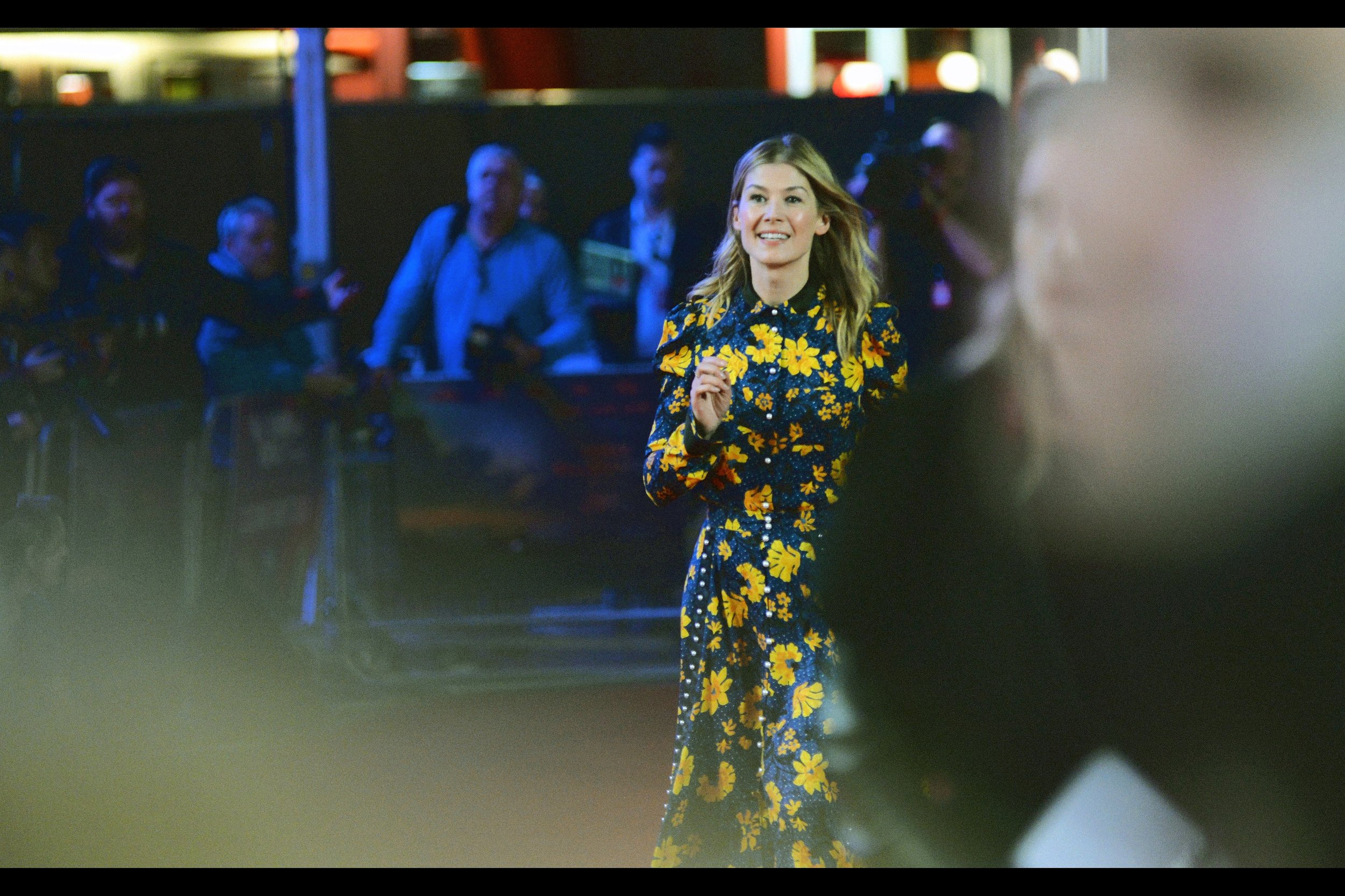 """Still...despite the noise, here's random attendee Rosamund Pike, of """"What We Did On Our Holiday"""", """"The World's End"""" and """"Gone Girl"""" fame."""