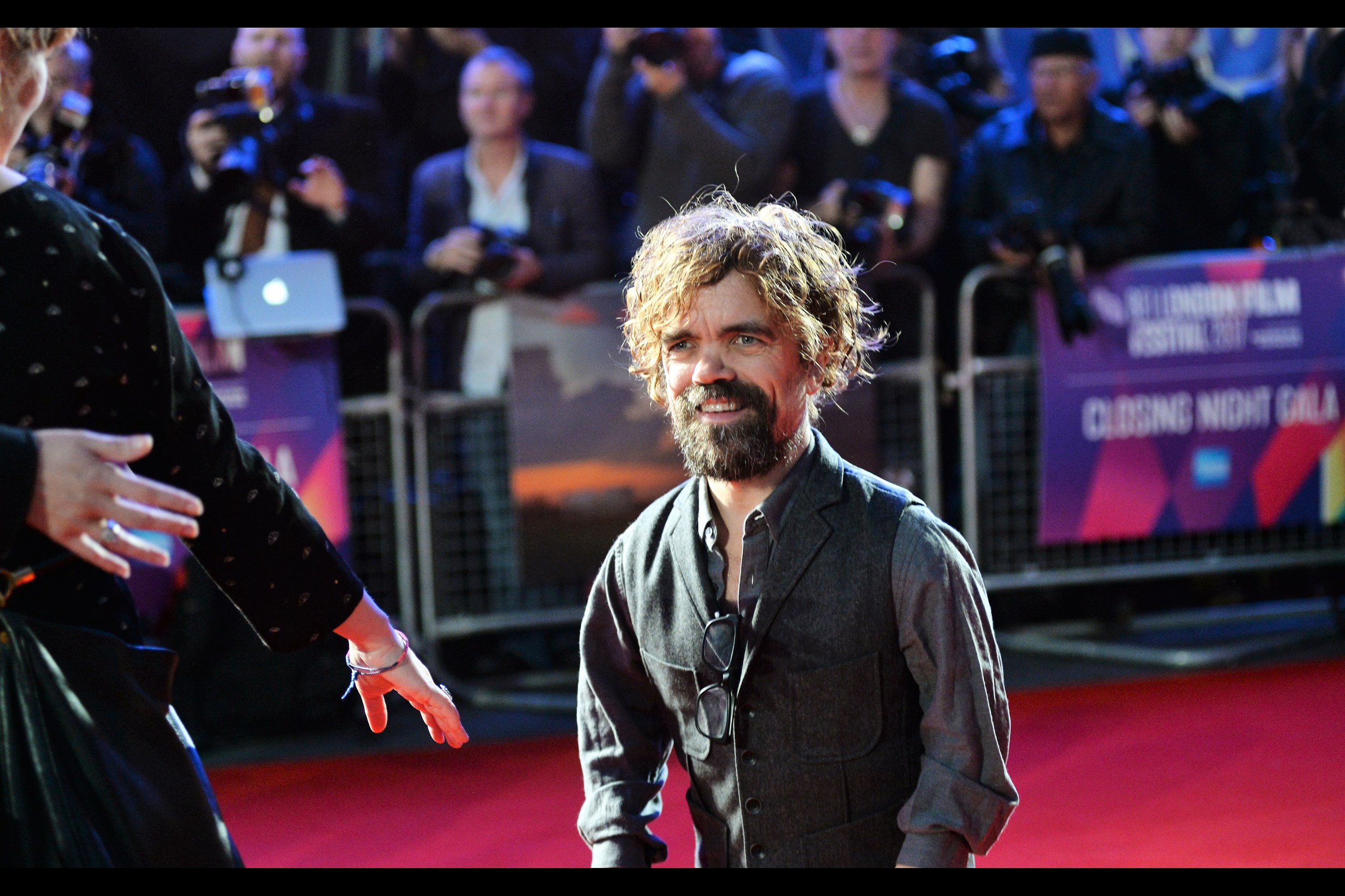 """Oh, good. It's not a euphemism. I guess I feel safe enough to get closer"".  Peter Dinklage is fantastic in Game of Thrones (and he didn't attend the s5 World Premiere as far as I could see, and that's nothing to do with his height and everything to do with my position)"