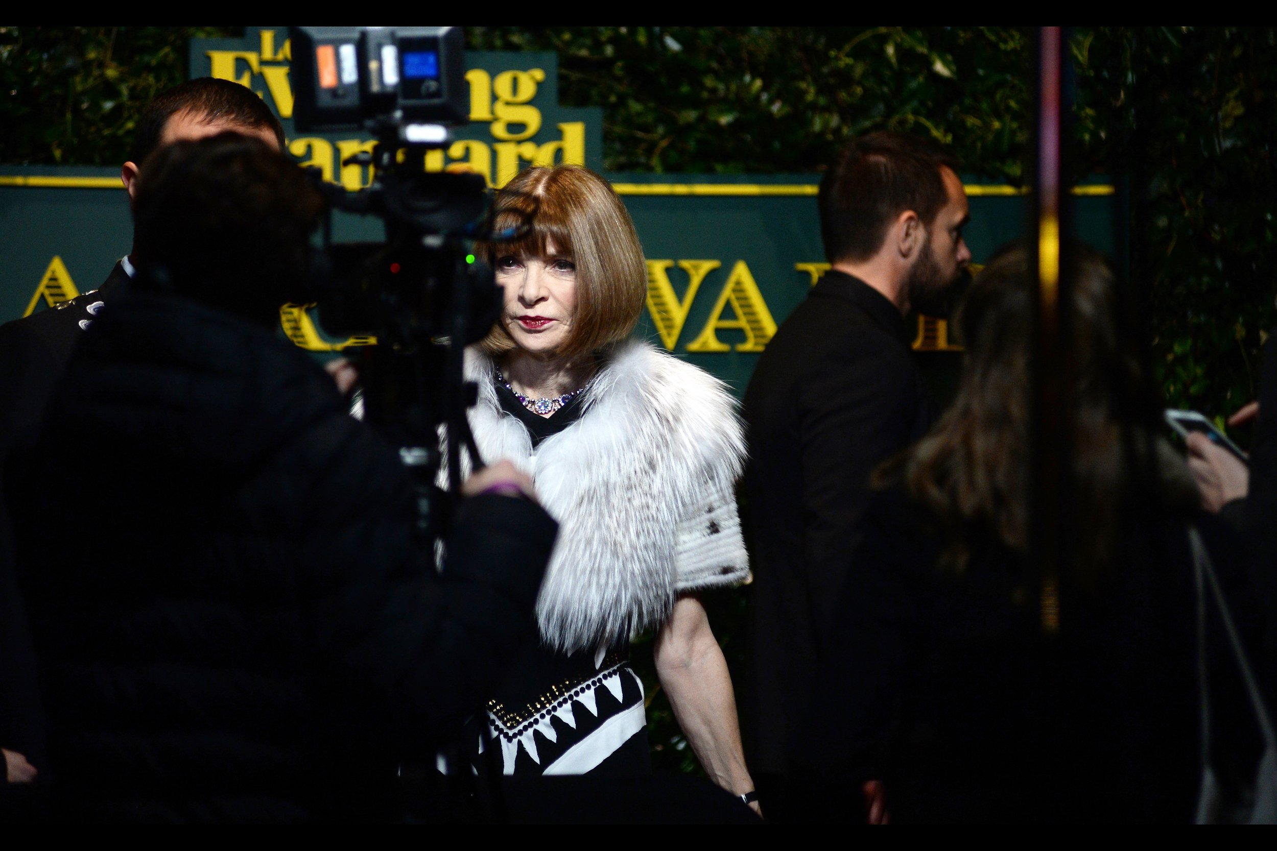Fashionista Anna Wintour - on the night before the Fashion Awards and WITHOUT glasses. Damnit, if glasses aren't cool anymore then the fashion cred of my daily ensemble rests almost entirely on my off-brand jeans and thinsulate beanie...