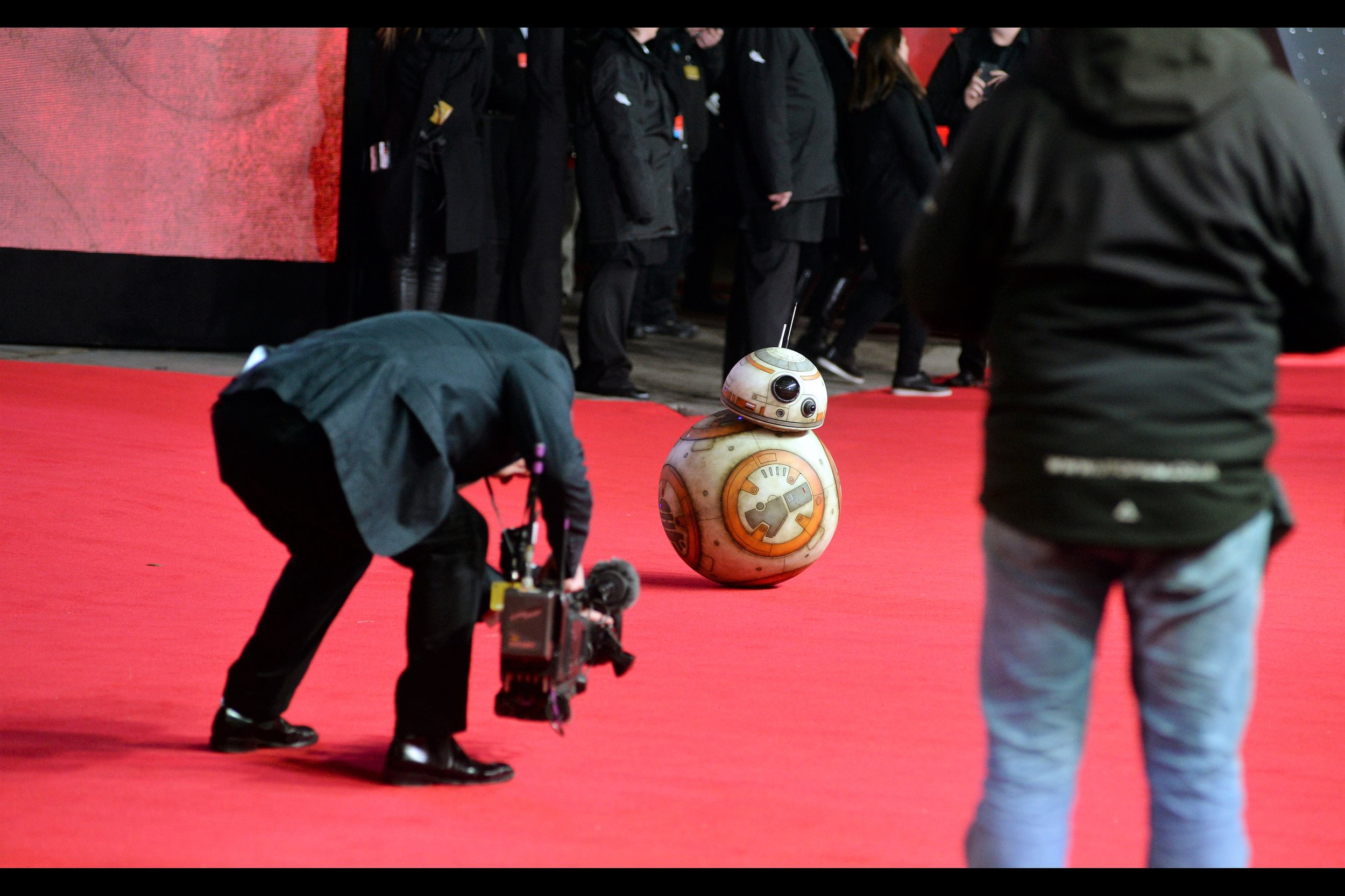 It's BB-8 ! He didn't pose for selfies or sign a single autograph for fans. But then again, he's short and doesn't have arms...