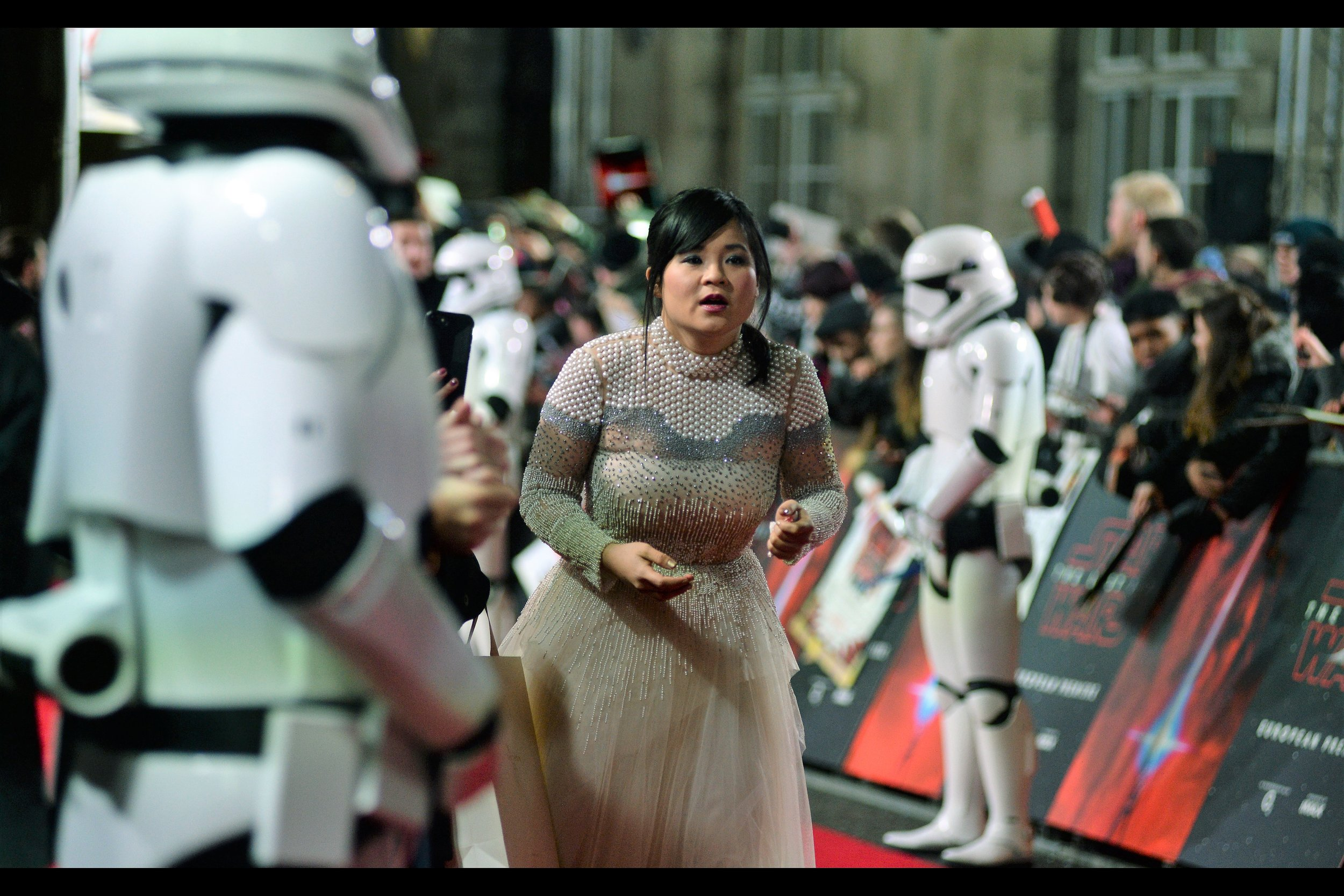 """When I start my own pan-galactic organisation of terror and fear, the dress I'm wearing will be our official uniform!""  Kelly Marie Tran is in this movie... and in MY pan-galactic organisation of terror and fear, anyone who walks while staring at or texting on their phone will be allowed to be shoulder-charged at full force and they must then apologise to the person who shoulder-charged them."
