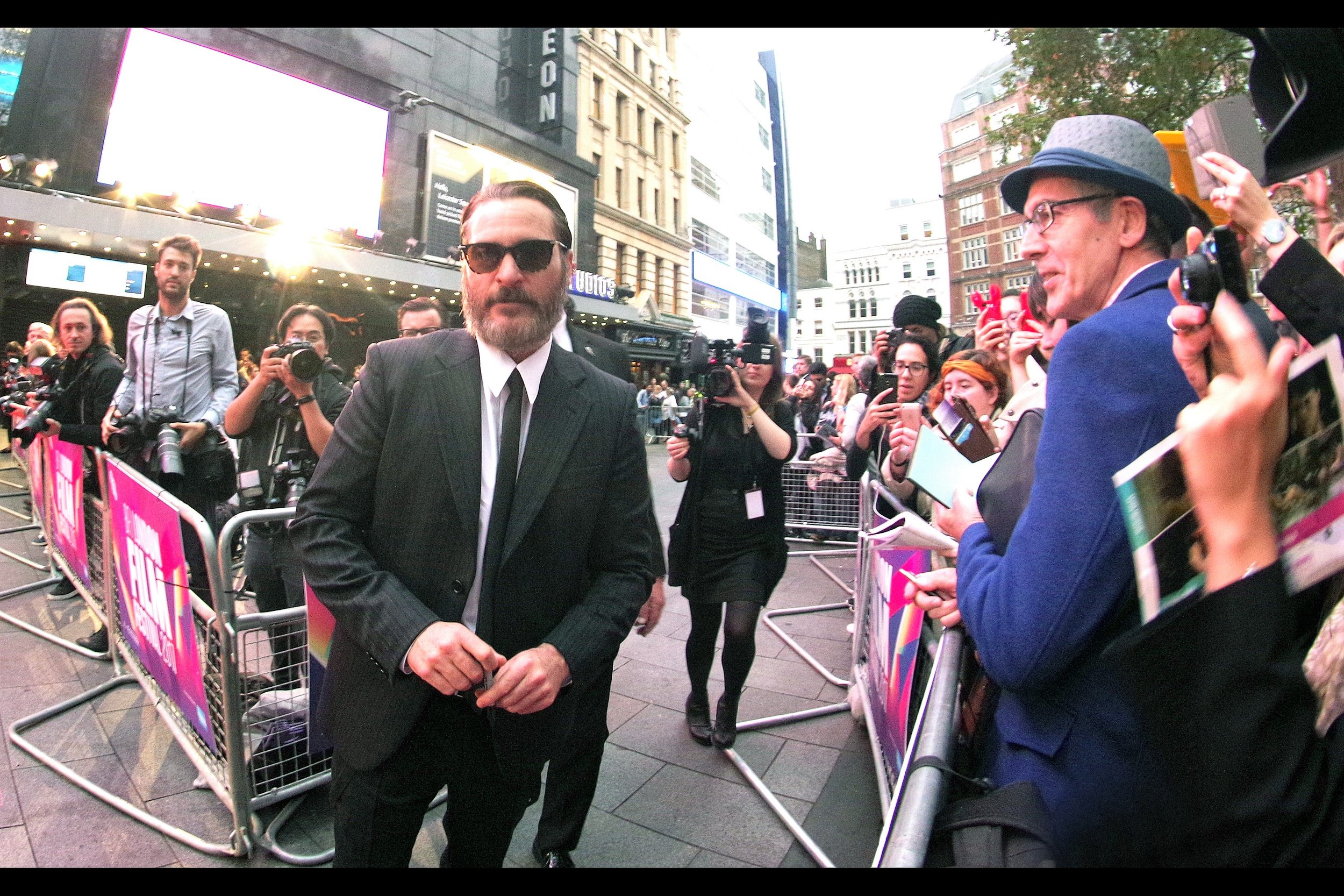"October 14th (part I): A brand new layout for a strange (but arguably cool) BFI LFF premiere - and Joaquin Phoenix eventually did take off his glasses - at    the premiere of ""you were never really here""   ."
