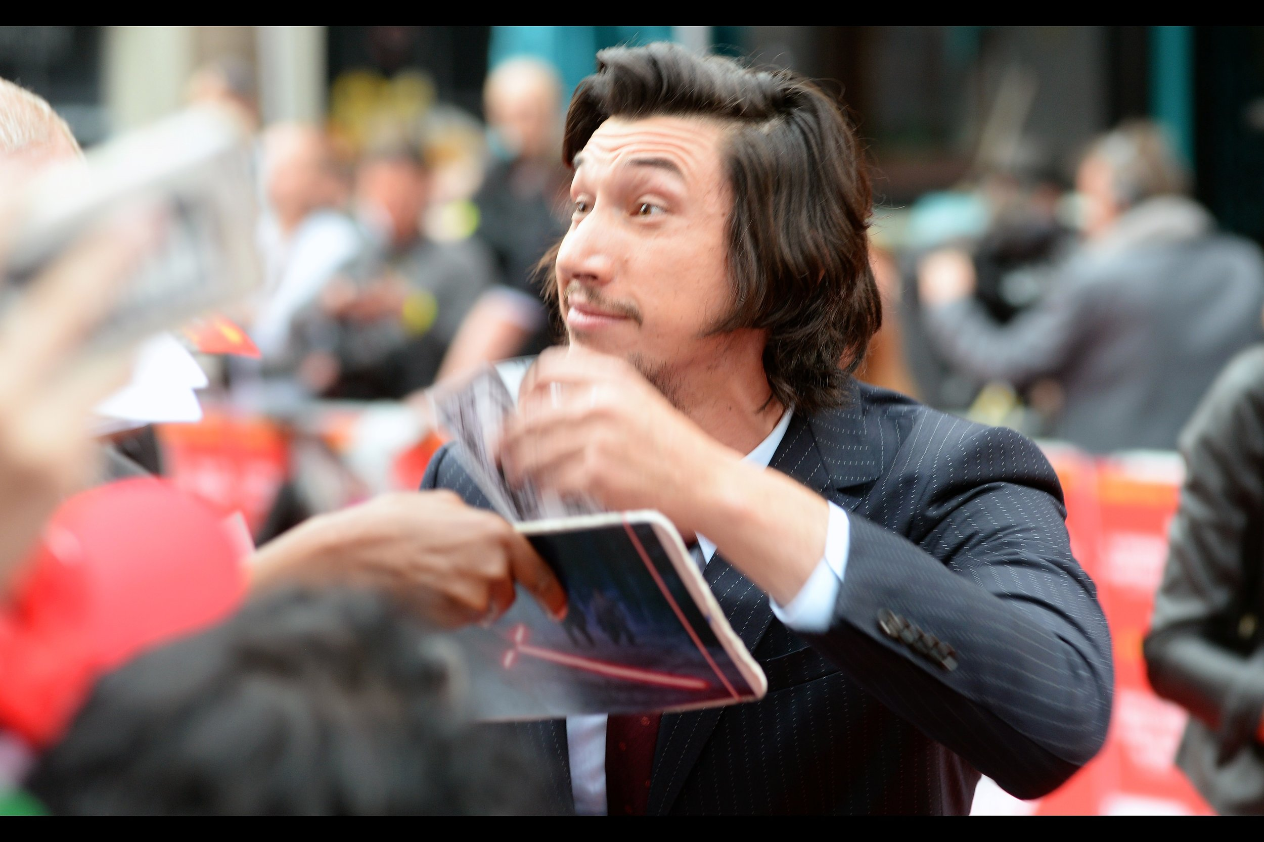 "August 21st : Adam Driver shows signs of dangerous whimsy at the premiere of    ""Logan Lucky""   ."
