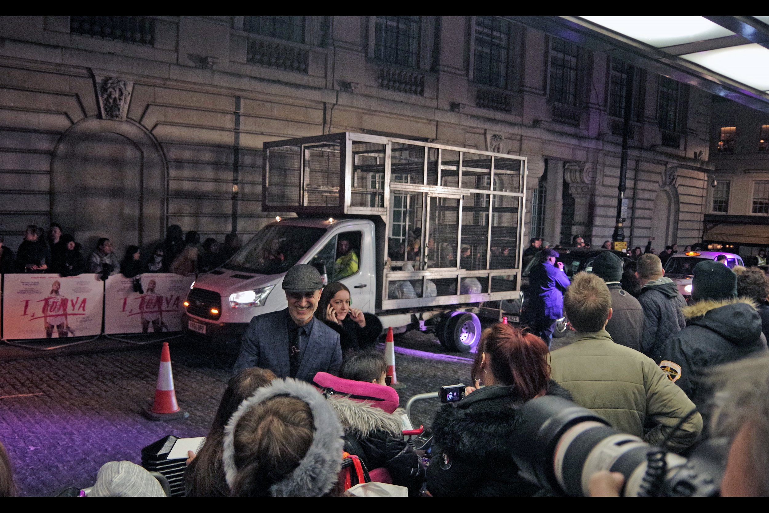 Sadly they don't always close down the road at Curzon Mayfair premieres (though they did for    the premiere for 'The Mercy'    a bit under a fortnight ago) - but it's not every premiere that gets a caged garbage truck making a passthrough.