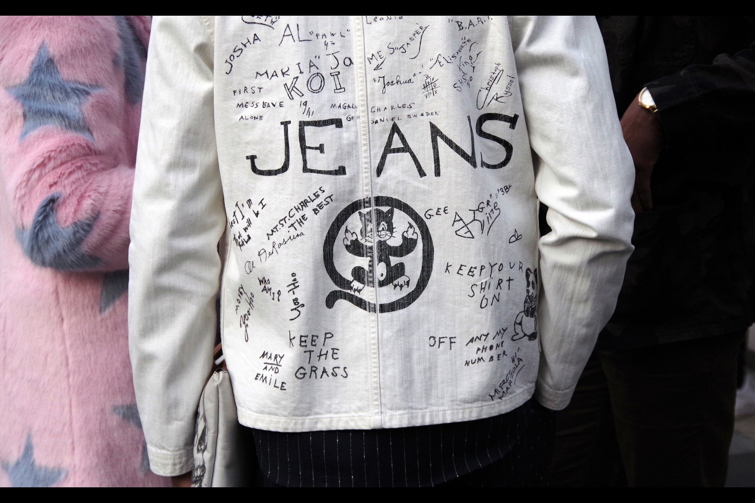 """""""At first I got pissed at them for ruining a $1000 jacket with their damn scrawls. But it's fashion week, so I'm going to see if I can sell it for $10,000 and then see if I can STILL get them to reimburse me for the jacket"""""""