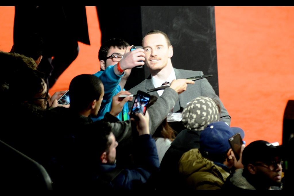 Michael Fassbender, arguably best known for being the android David in    'Prometheus'    and    'Alien Covenant'    isn't so much a random attendee at this premiere as the husband of Alicia Vikander. I've made this photo slightly blurry to make a deeply artistic point about... art. or something.