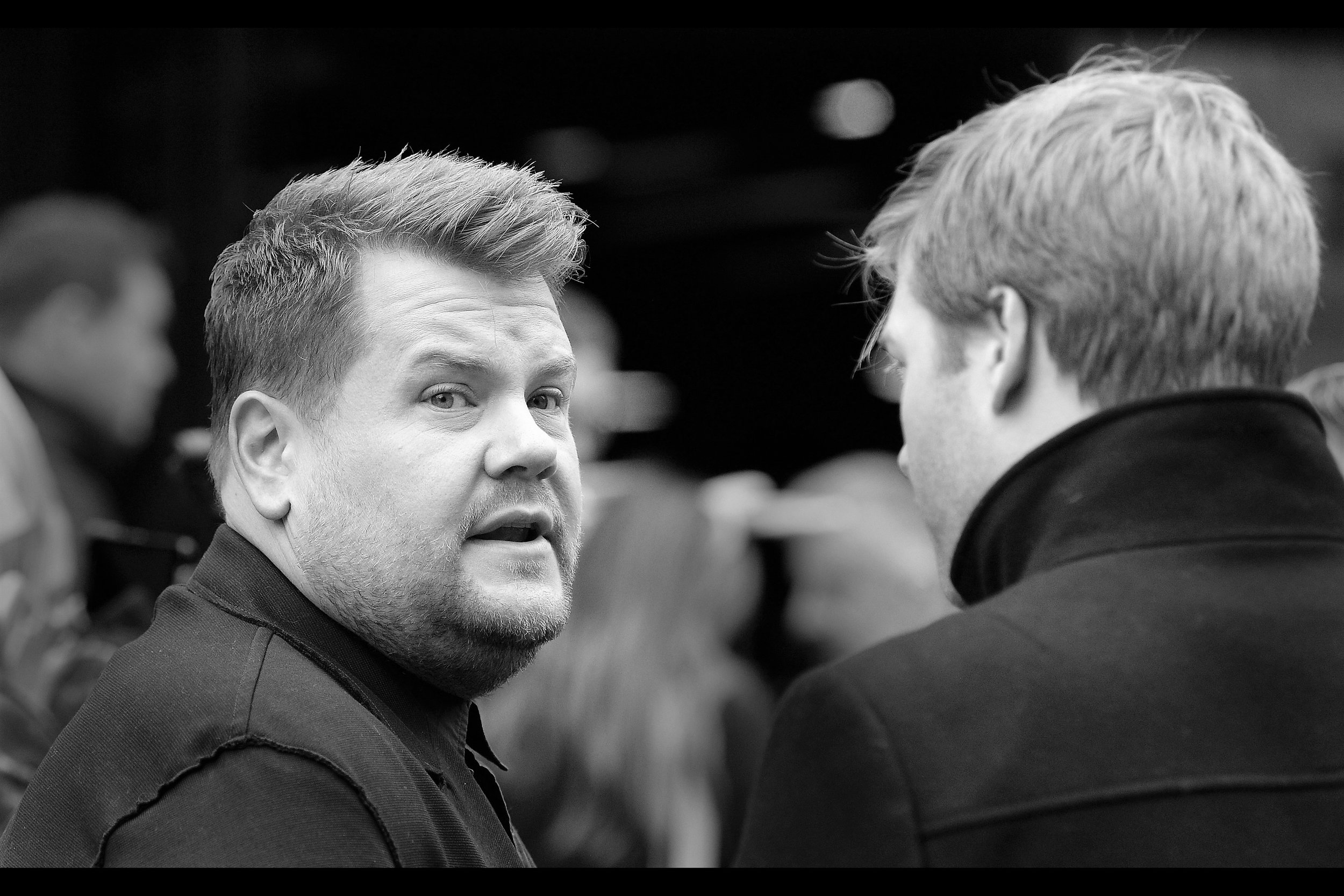 Finally photographed : the voice of this movie's titular hero Peter Rabbit : James Corden.