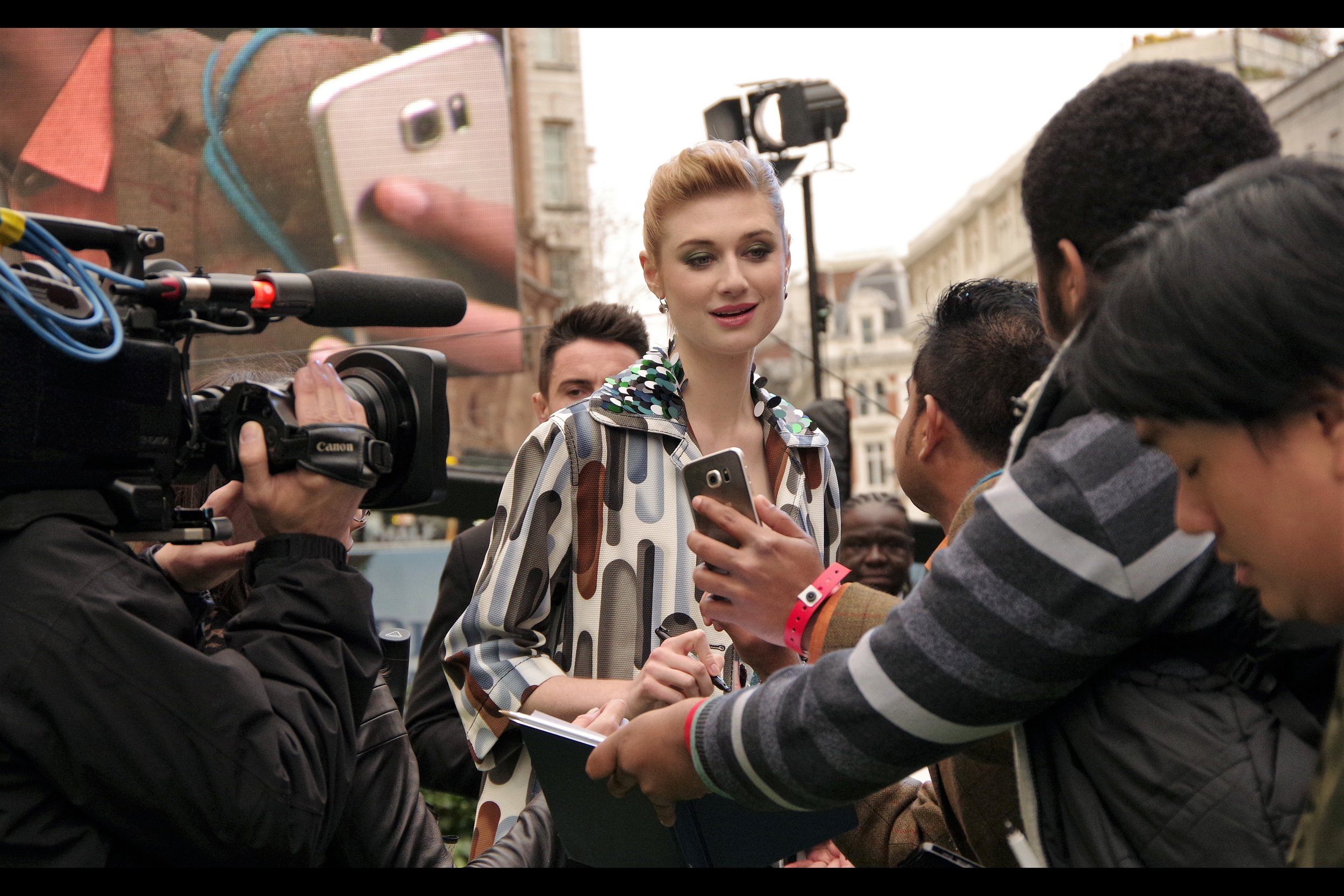 """""""It's true. I'm tall. Is that a custom pickup line you're using, or do you say that to anyone regardless of height?""""  Elizabeth Debicki has been in such movies as The Great Gatsby, Guardians of the Galaxy II (the gold-skinned alien queen), The Man from U.N.C.L.E remake and is the voice of """"Mopsy"""" in this movie."""