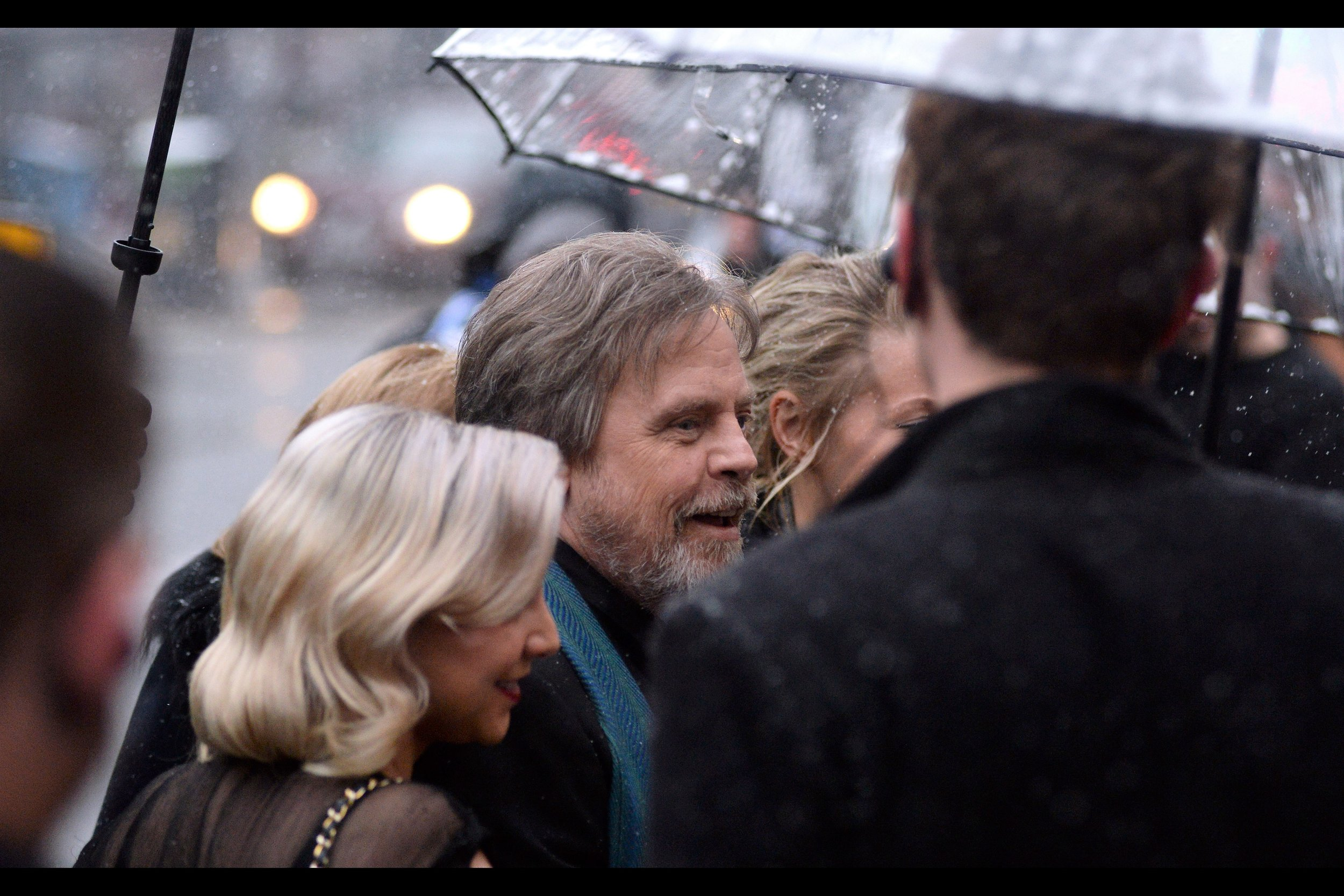 Sadly, this is as good a photo of Mark Hamill as I was able to take, owing to the clamouring of security, PAs, photographers, soothsayers, passersby, (probably) his family, errant cameras, mobile phones, heads, beanies, and even particularly enthusiastic flakes of snow.