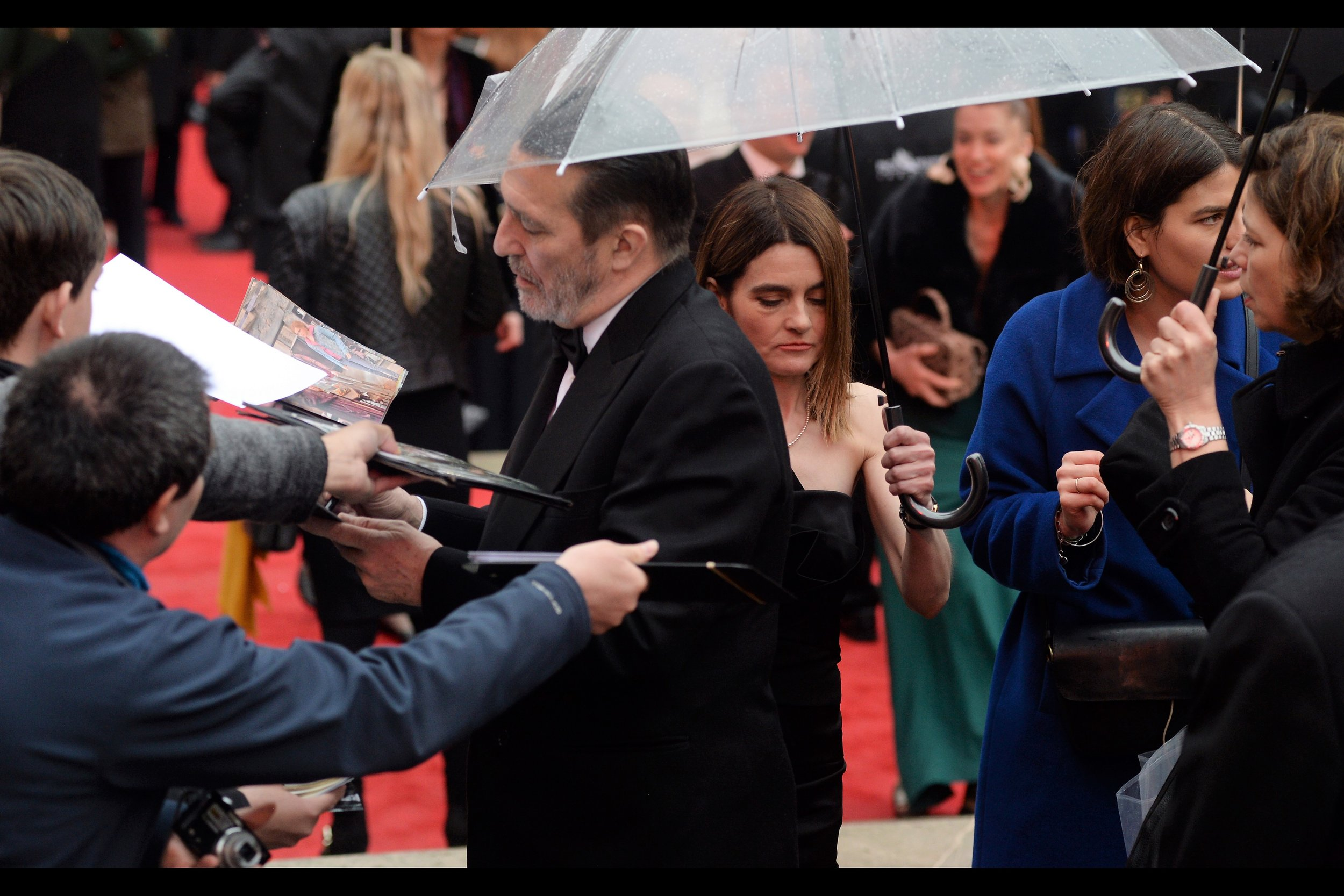 Passing by Ciaran Hinds is Shirley Henderson, arguably best known for being Moaning Mirtle across a few Harry Potter films, but she won Best Actress in a Musical on the night.