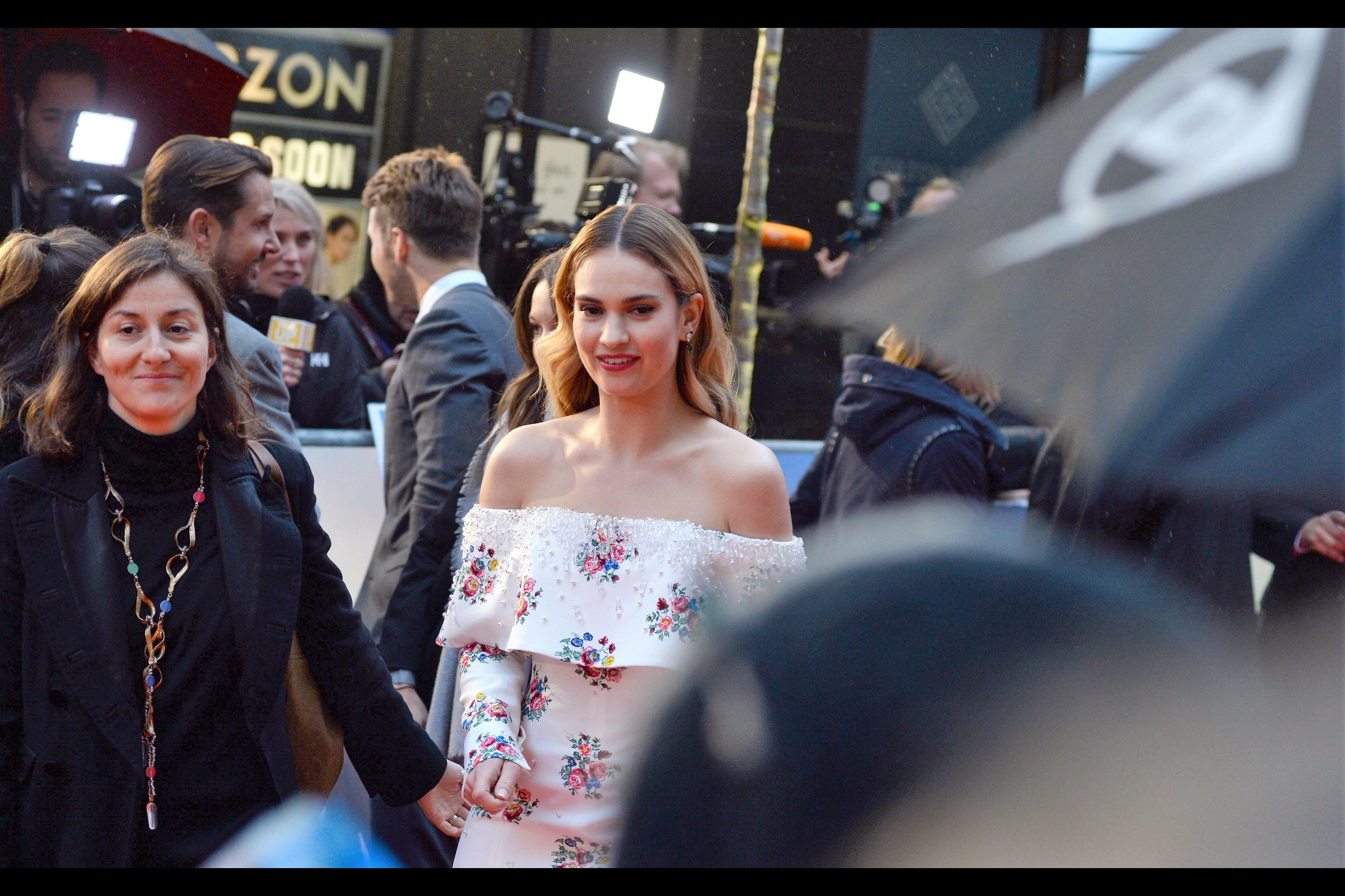 """""""What if I don't sign or do selfies .... and instead just kind nod in your direction"""" . Personally, as somebody who comes to premieres to take photos, I think Lily James is pretty enough for this bargain to have merit."""
