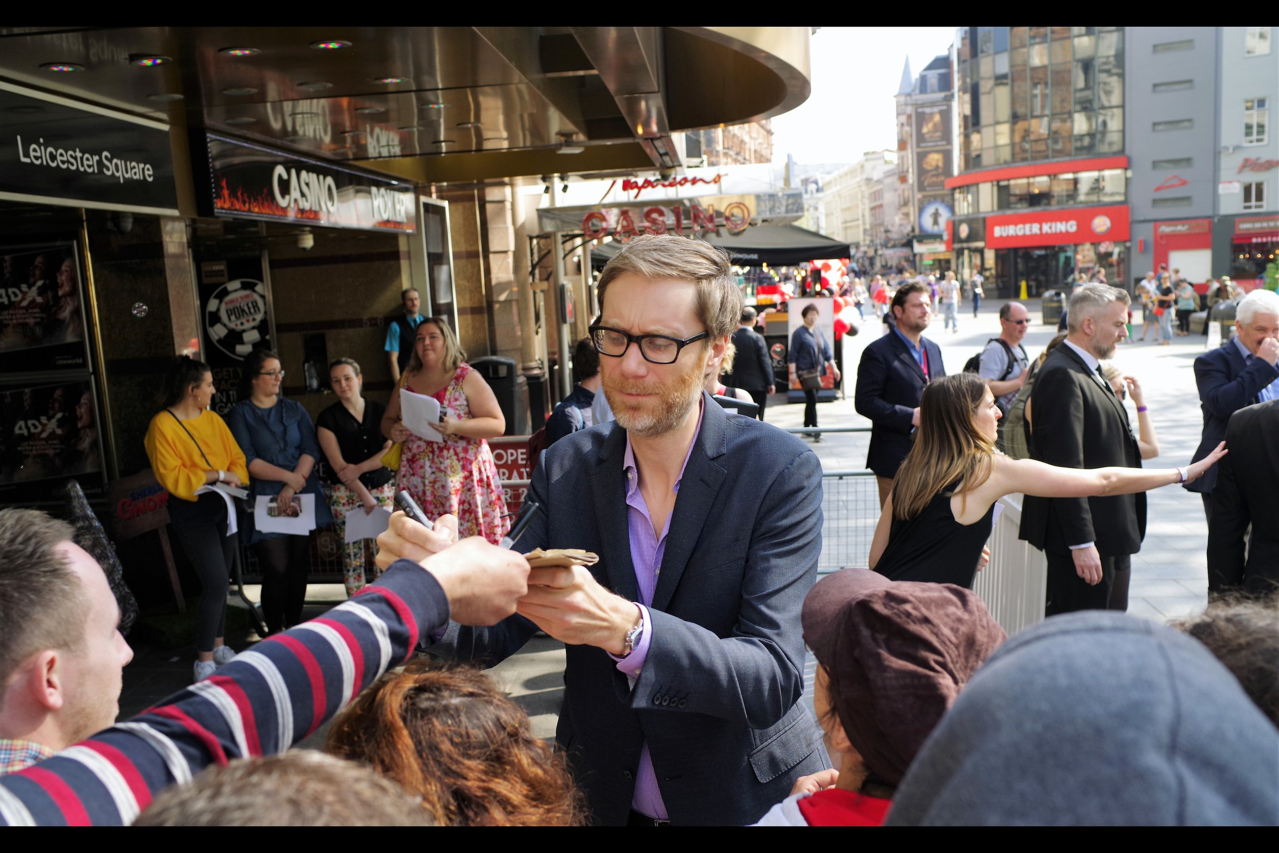 """In a cast that contains such vocal talent as Johnny Depp, Emily Blunt, Michael Caine, Chiwetel Ejiofor and ... uh.... Ozzy Osbourne.... this is Stephen Merchant, who provides the voice for someone (or I guess something) called """"Paris"""" in the movie."""